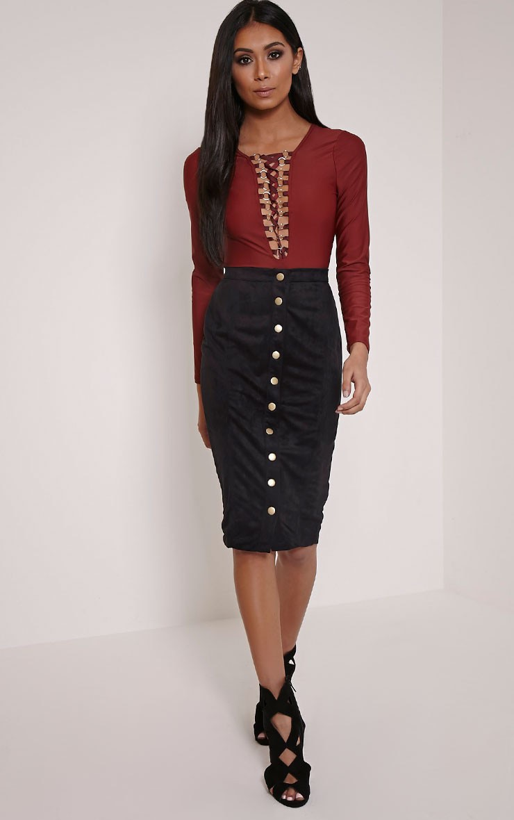Meemee Black Button Front Suede Midi Skirt 1