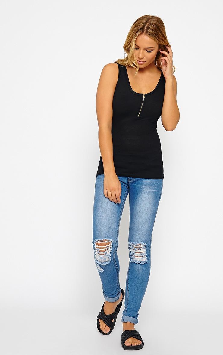 Basic Black Zip front Ribbed Jersey Vest 3