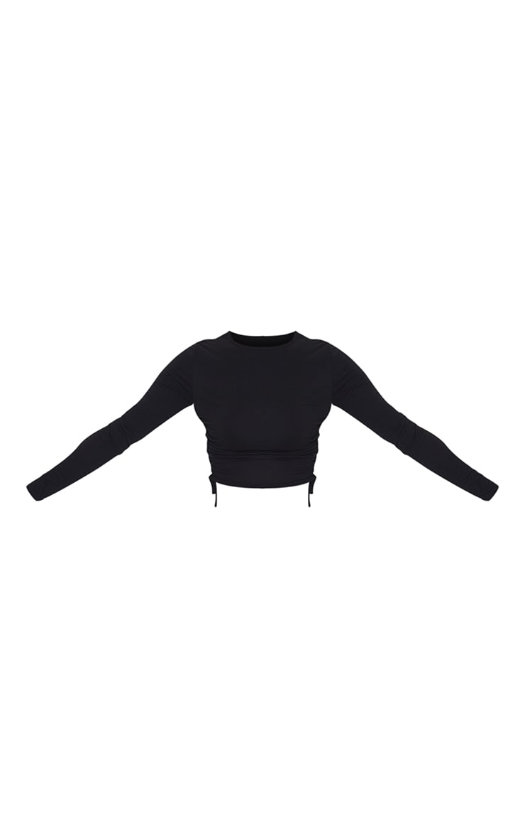 Black Jersey Ruched Side Long Sleeve Top 5