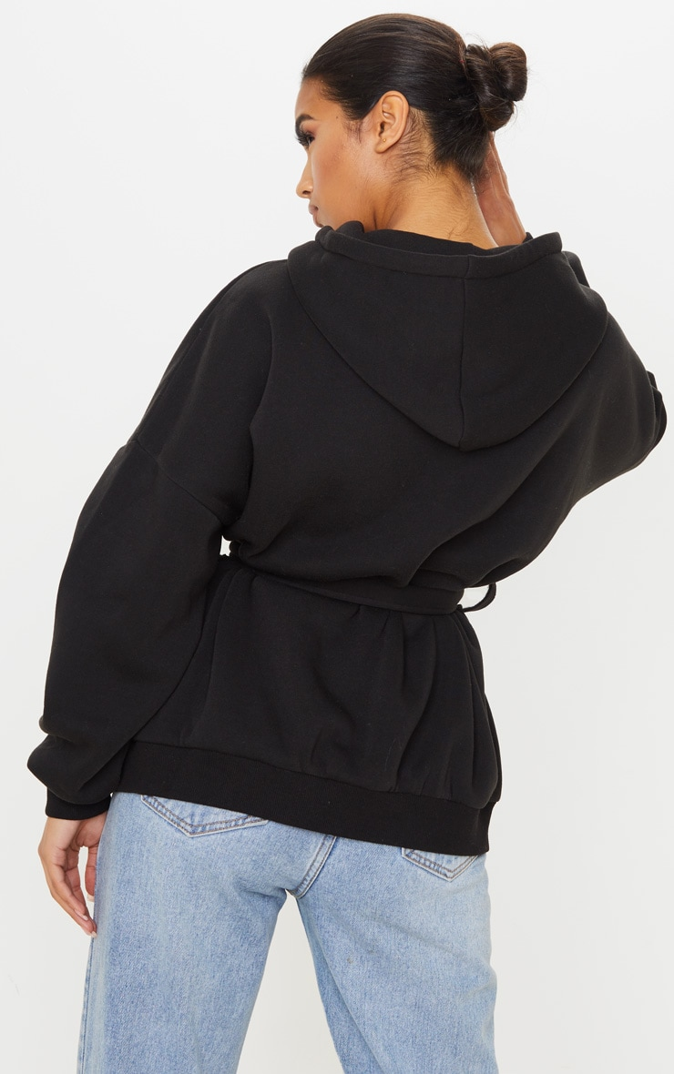 Black Oversized Belted Sweat Hoodie 2