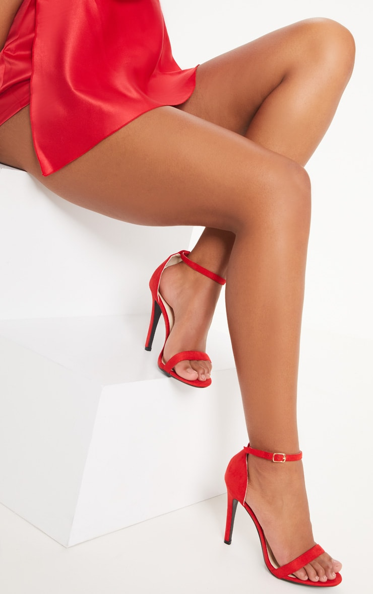 Clover Red Strap  Heeled Sandals 1