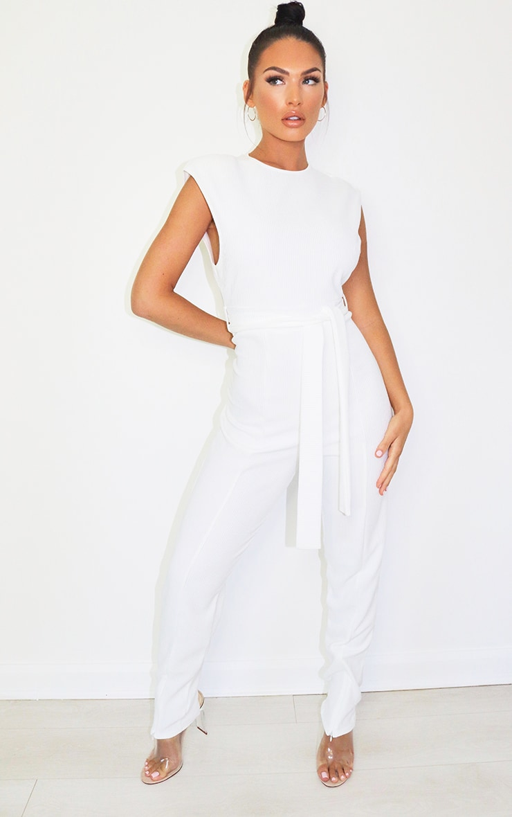 White Thick Rib Zip Hem Shoulder Pad Sleeveless Jumpsuit