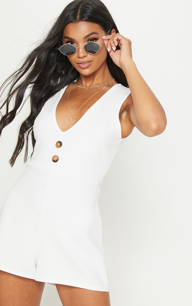 White Button Detail Slouchy Playsuit 1
