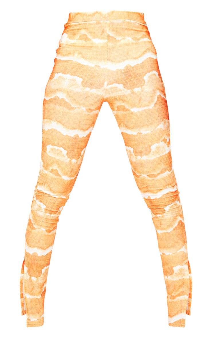 Tall Orange Tie Dye Crinkle Split Hem Legging 5