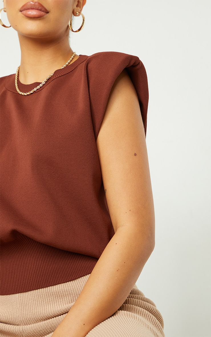 Chocolate Shoulder Pad Knitted Ribbed Top 4