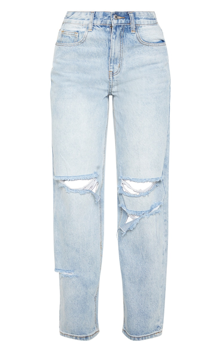 Bleach Wash Baggy Low Rise Distressed Boyfriend Jean 3