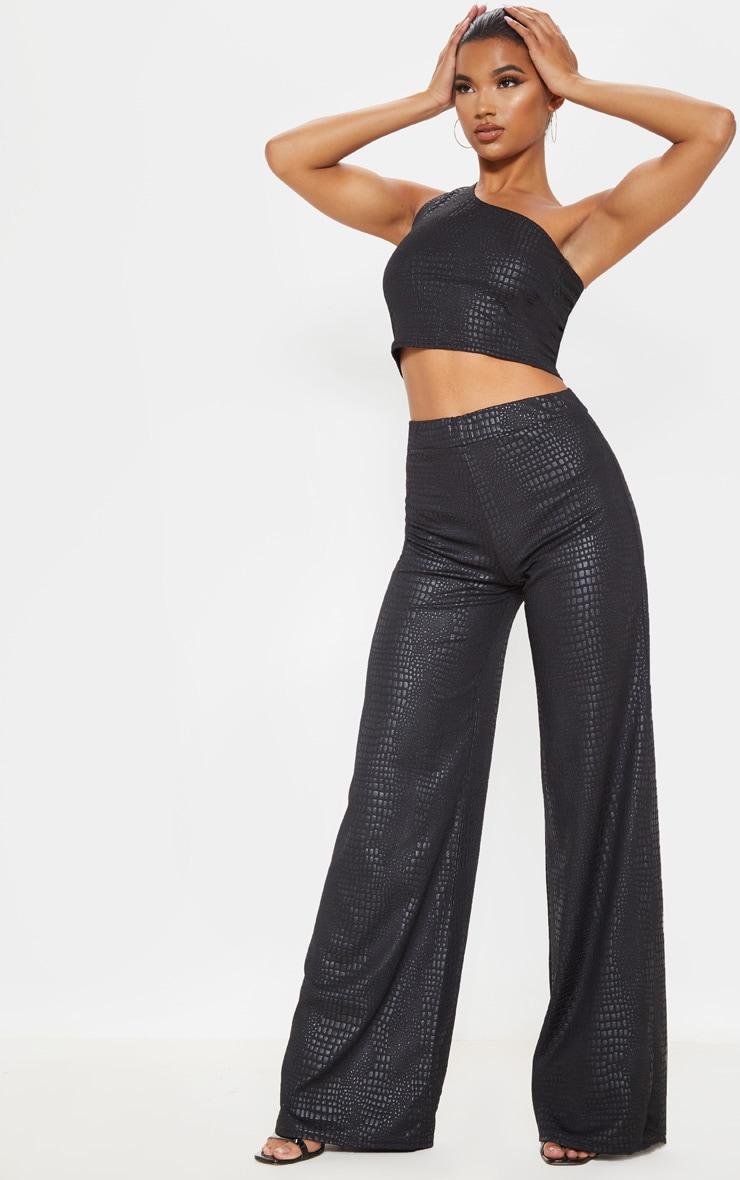 Black Croc Print Wide Leg Trouser 1