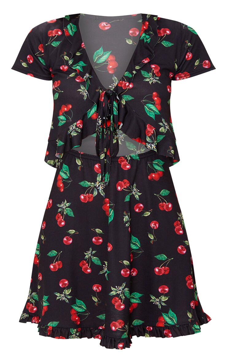 White Cherry Print Frill Cut Out Detail Tea Dress 3