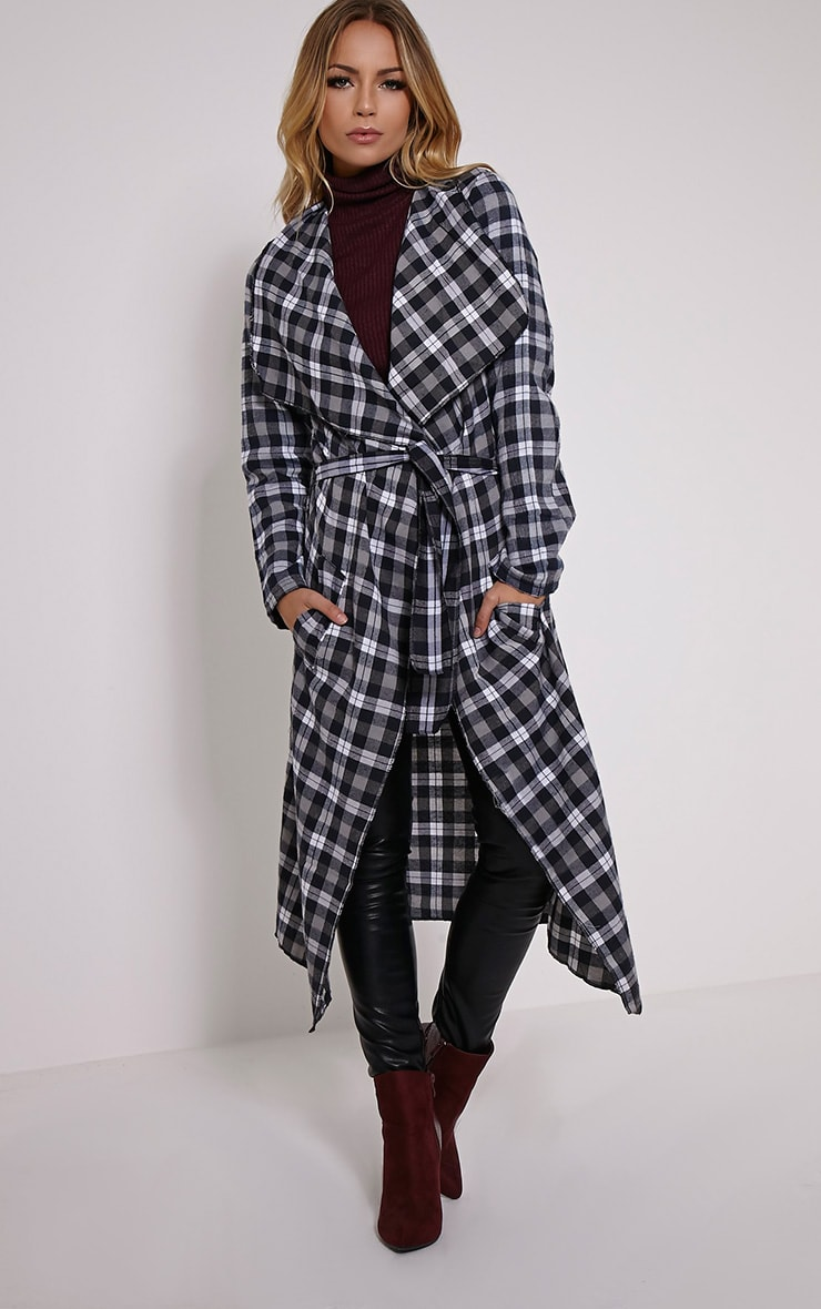 Lauree Black Checked Waterfall Jacket 1