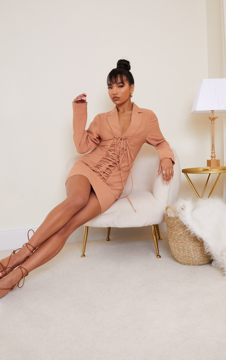 Camel Plunge Lace Up Front Blazer Style Bodycon Dress 3