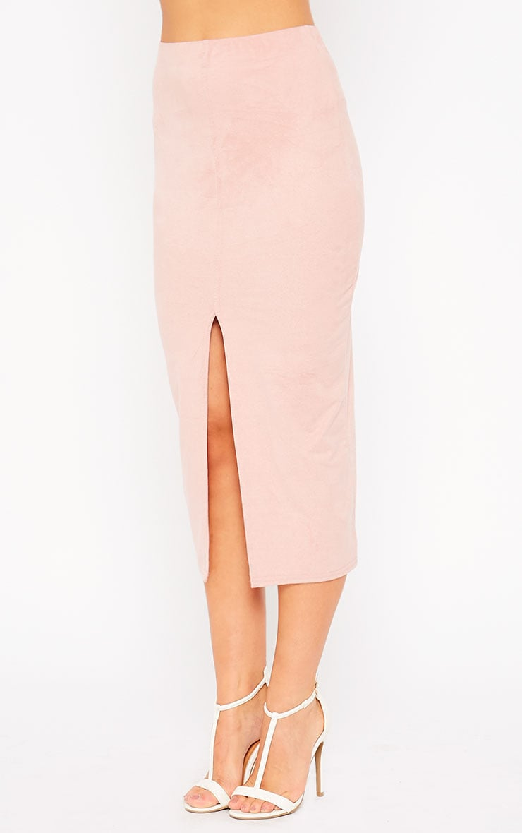 Riley Pink Suede Midi Skirt 3