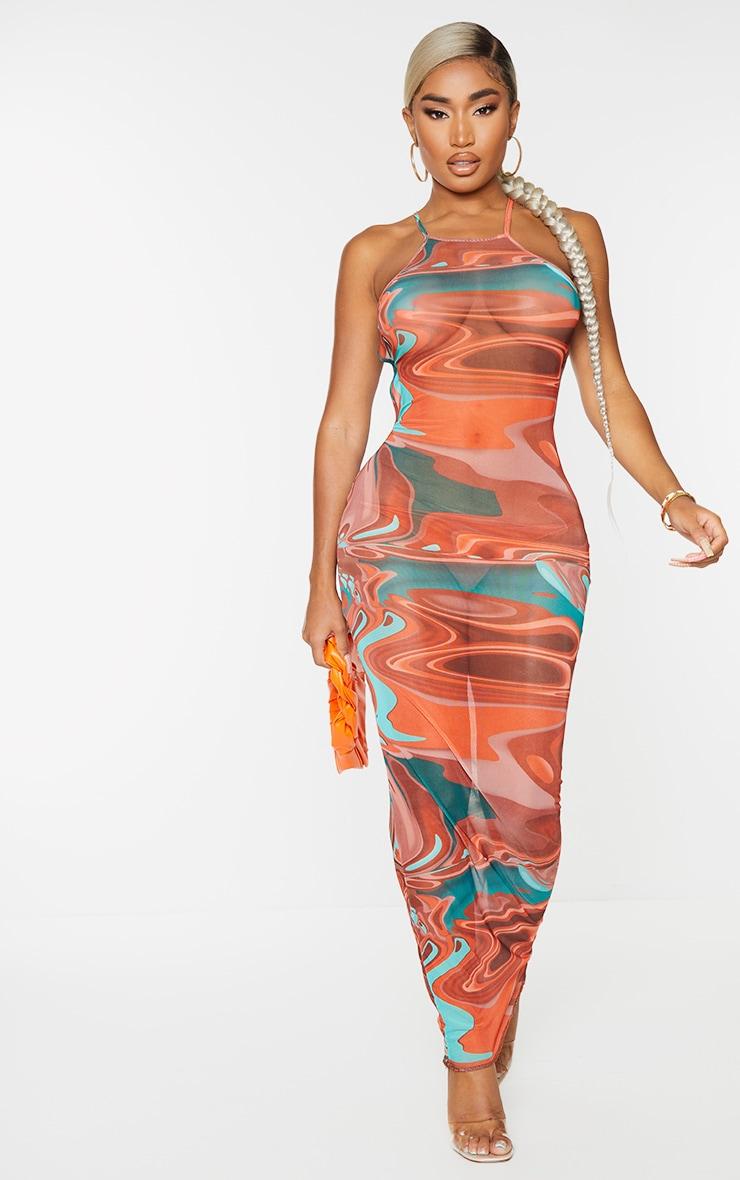 Shape Brown Marble Print Sheer Mesh Ring Detail Backless Midaxi Dress 2