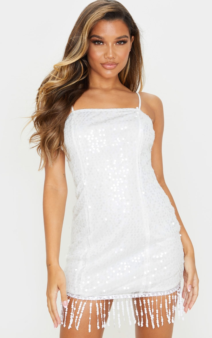 White Strappy Sequin Tassel Hem Bodycon Dress 1