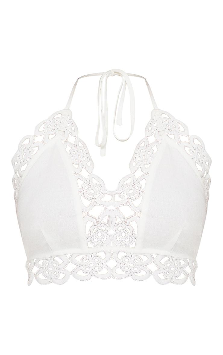 Petite- Bralette blanche avec bordures en crochet 3