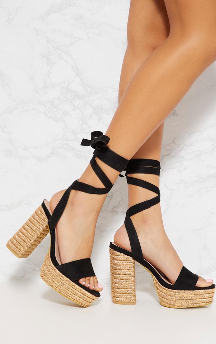 Black Double Platform Espadrille Leg Tie Sandal