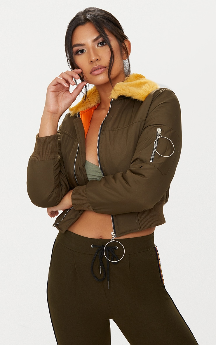 Khaki Ring Pull Faux Fur Collar Bomber Jacket 1