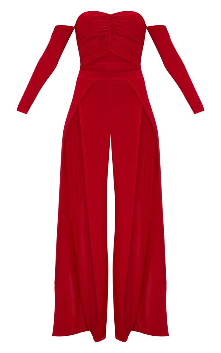 Red Slinky Ruch Front Split Leg Jumpsuit 3