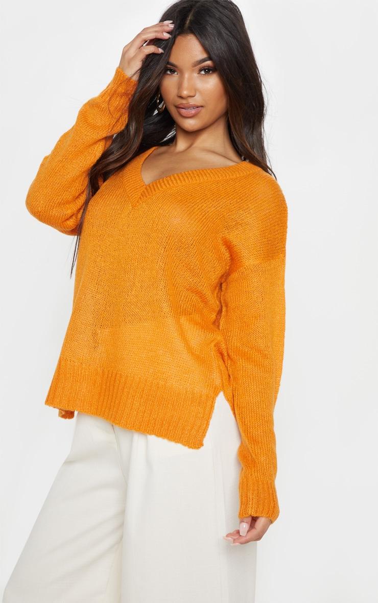 41538eaefaf45 Orange V Neck Lightweight Knitted Jumper image 1