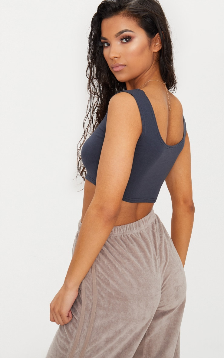 Charcoal Blue Stretch Scoop Neck Crop Top  4