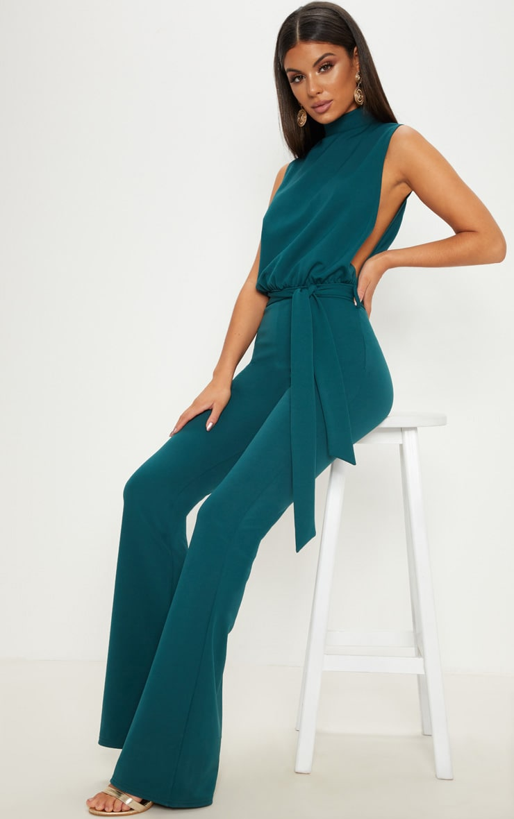 Emerald Green Scuba High Neck Tie Waist Jumpsuit 1