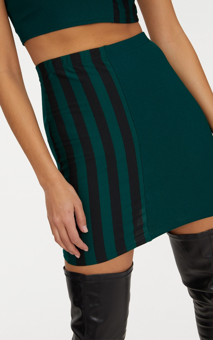 Emerald Green Stripe Panel Mini Skirt  6