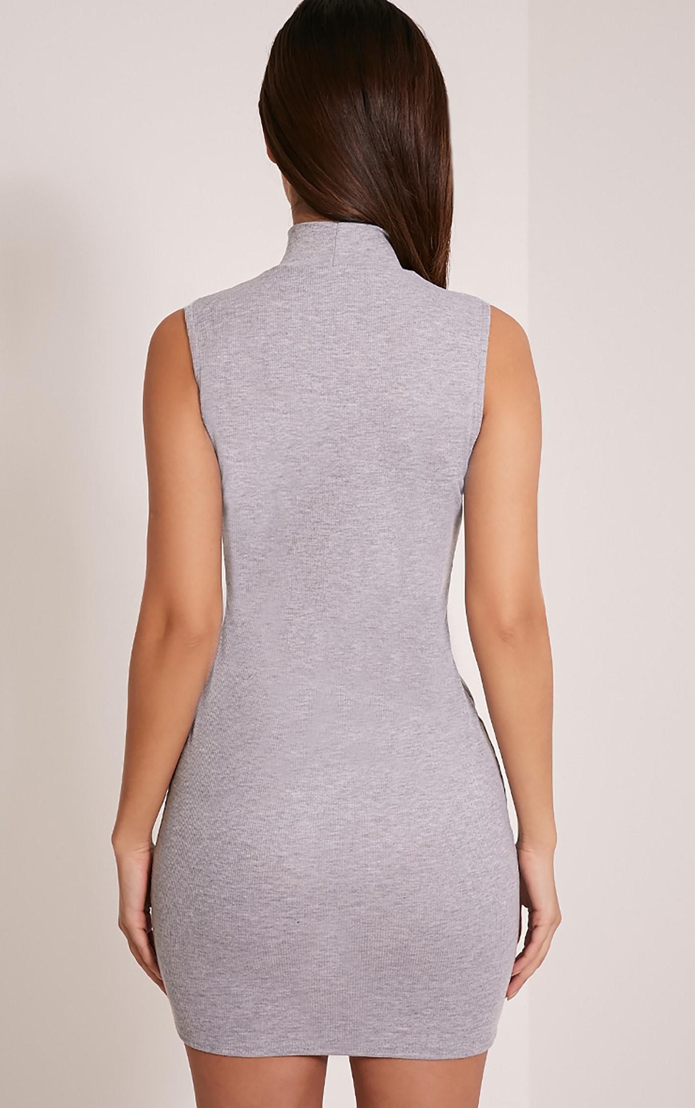Marlene Grey Sleeveless Plain Zip Ribbed Bodycon Dress 2
