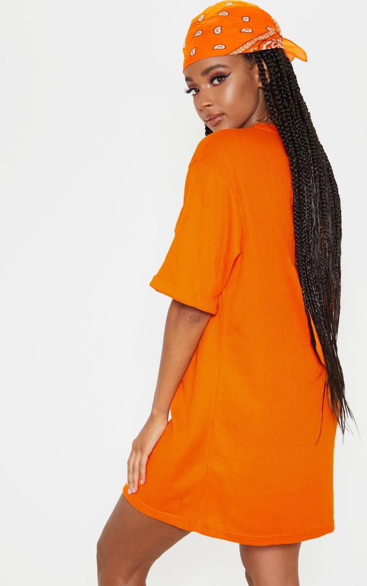 Bright Orange Waffle Pocket Front T Shirt Dress 2