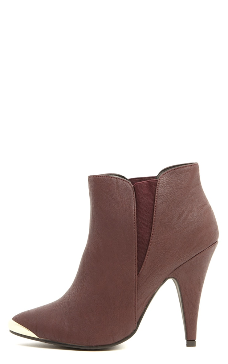 Anastasia Burgundy Leather Ankle Boots 1