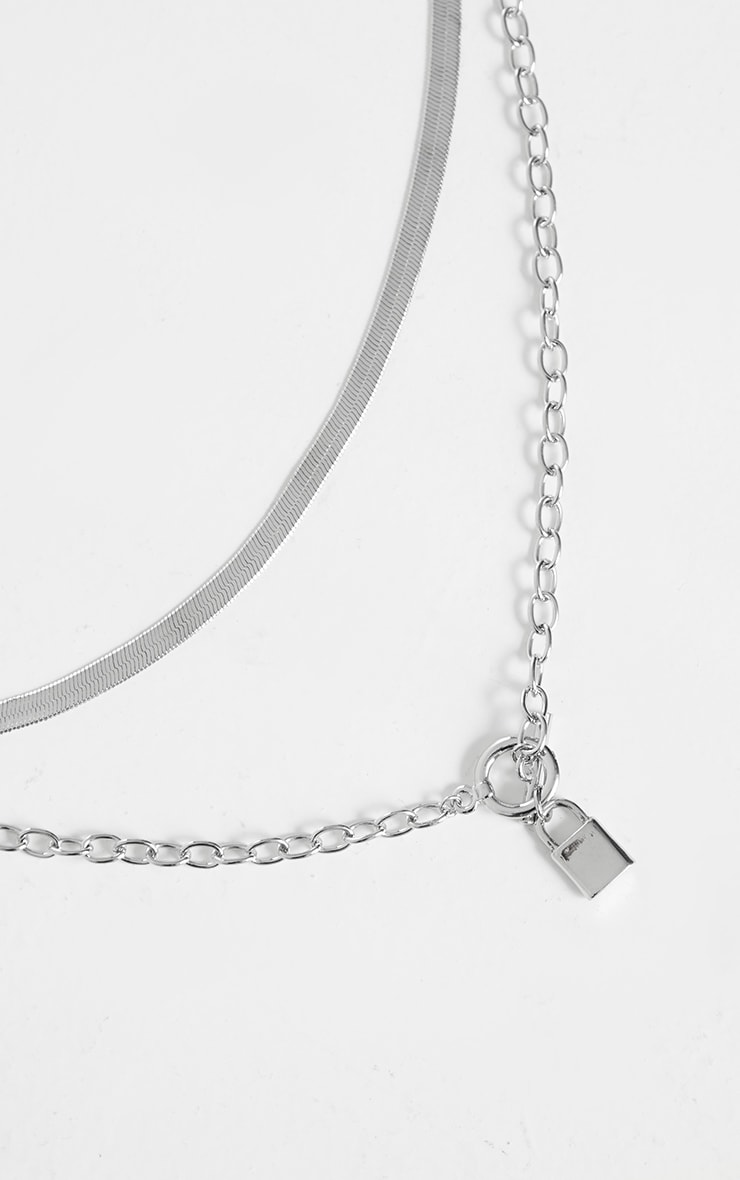 Silver Snake Chain And Padlock Layering Necklace 3