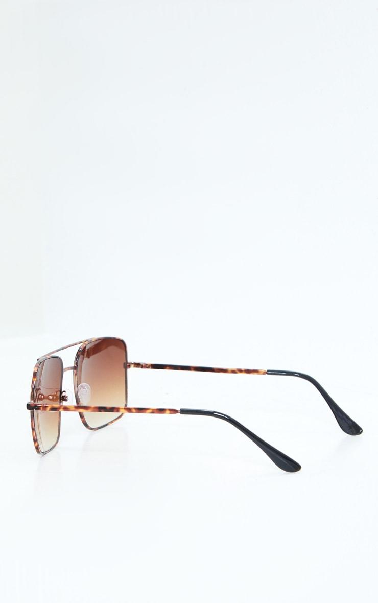 Brown Tortoise Double Bar Square Frame Sunglasses 3