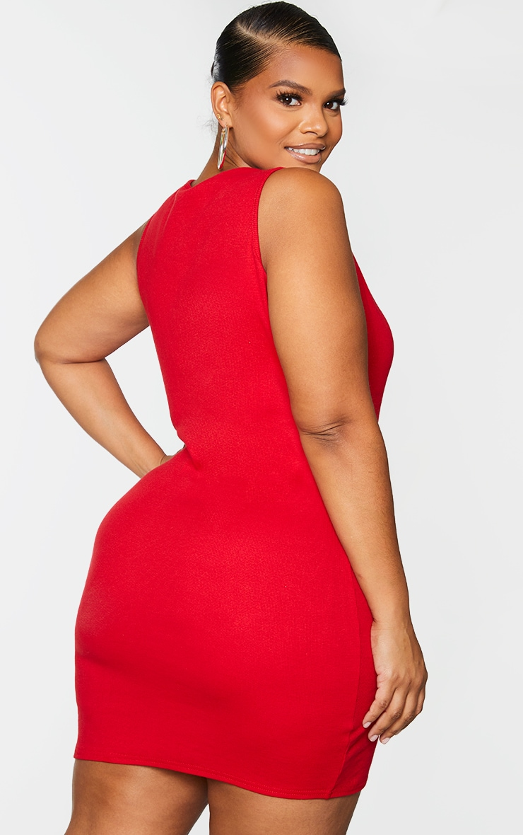 Plus Red Ribbed Scoop Neck Bodycon Dress 2