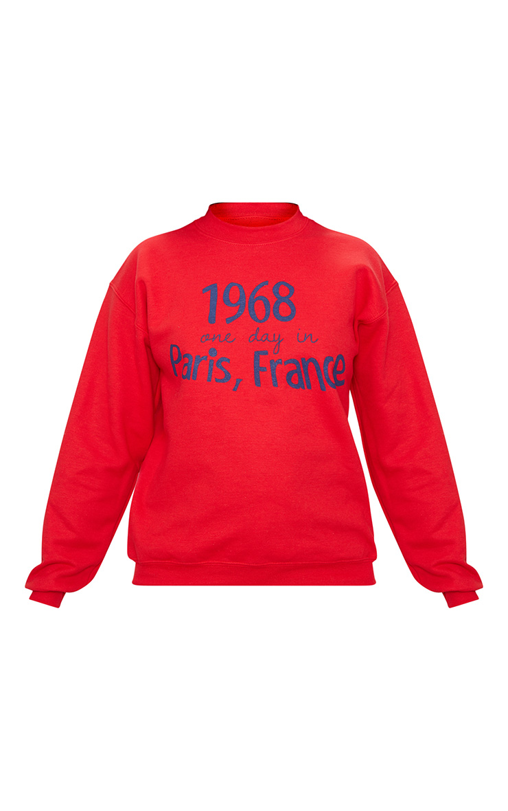 Petite Red Paris Slogan Sweater 3