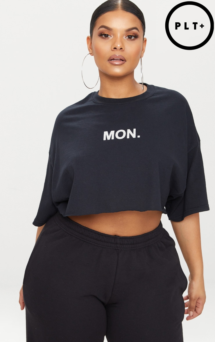 Plus Black MON Slogan Cropped T Shirt 1