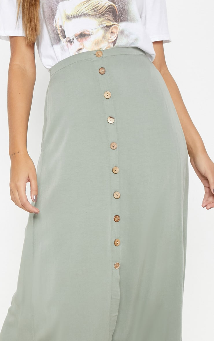 Sage Green Button Front High Waisted Midi Skirt 5