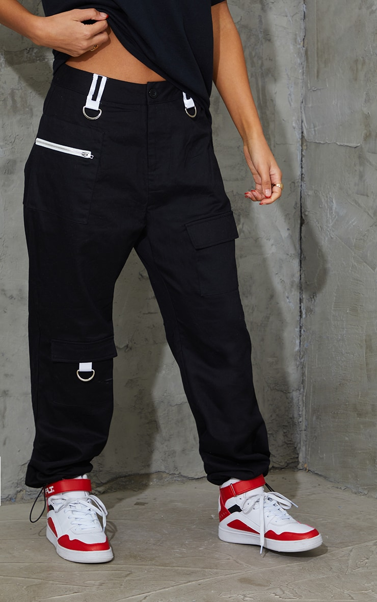 Black Pocket Zip Detail Cargo Pants 2