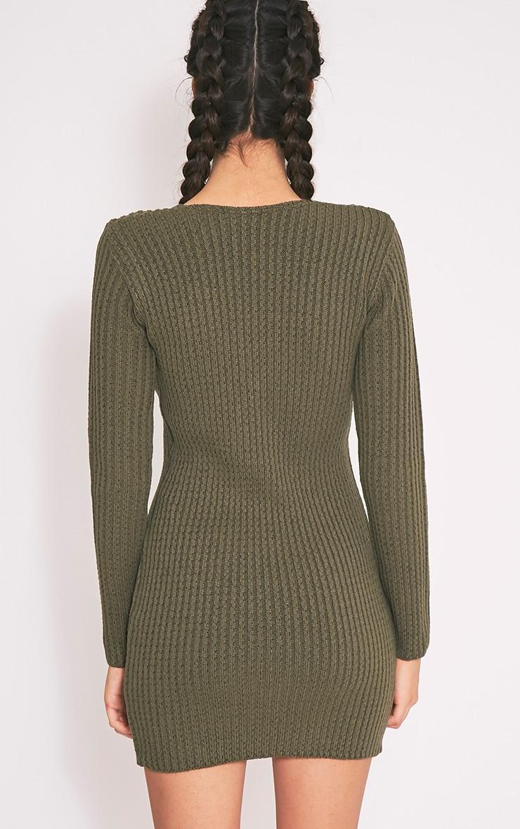 Zosia robe pull tricotée kaki à lacets 2