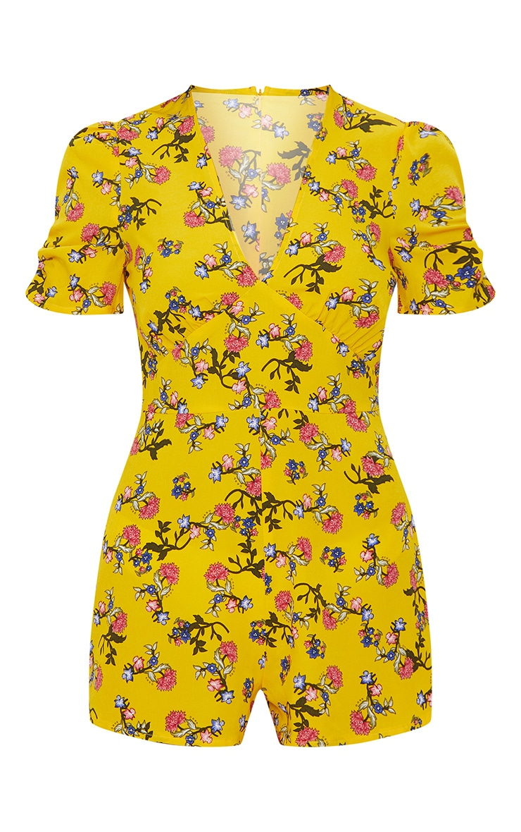 Yellow Floral Short Sleeve Playsuit 3