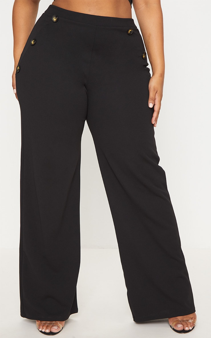Plus Black Button Detail Wide Leg Pants 2
