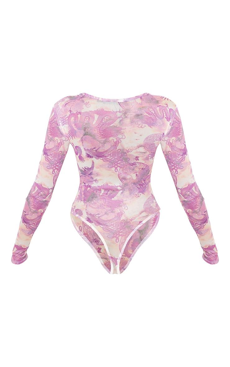Lilac Dragon Printed Mesh High Neck Bodysuit 6