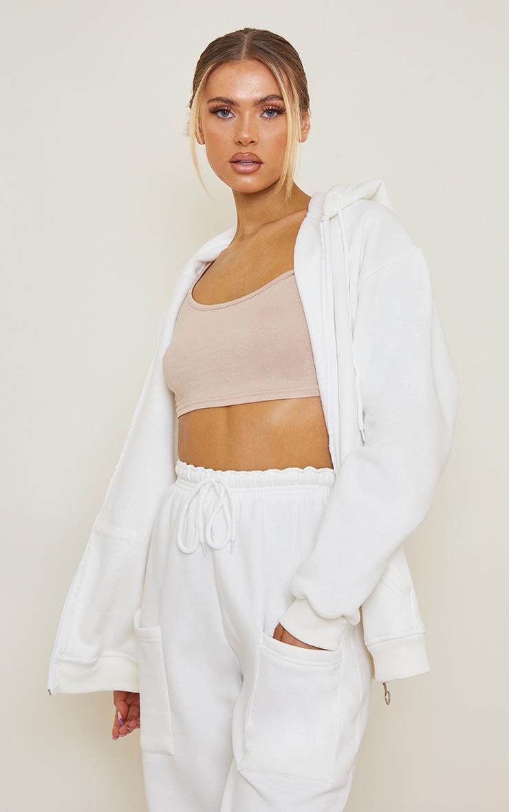 Ecru Extreme Oversized Pocket Front Zip Through Hoodie 1