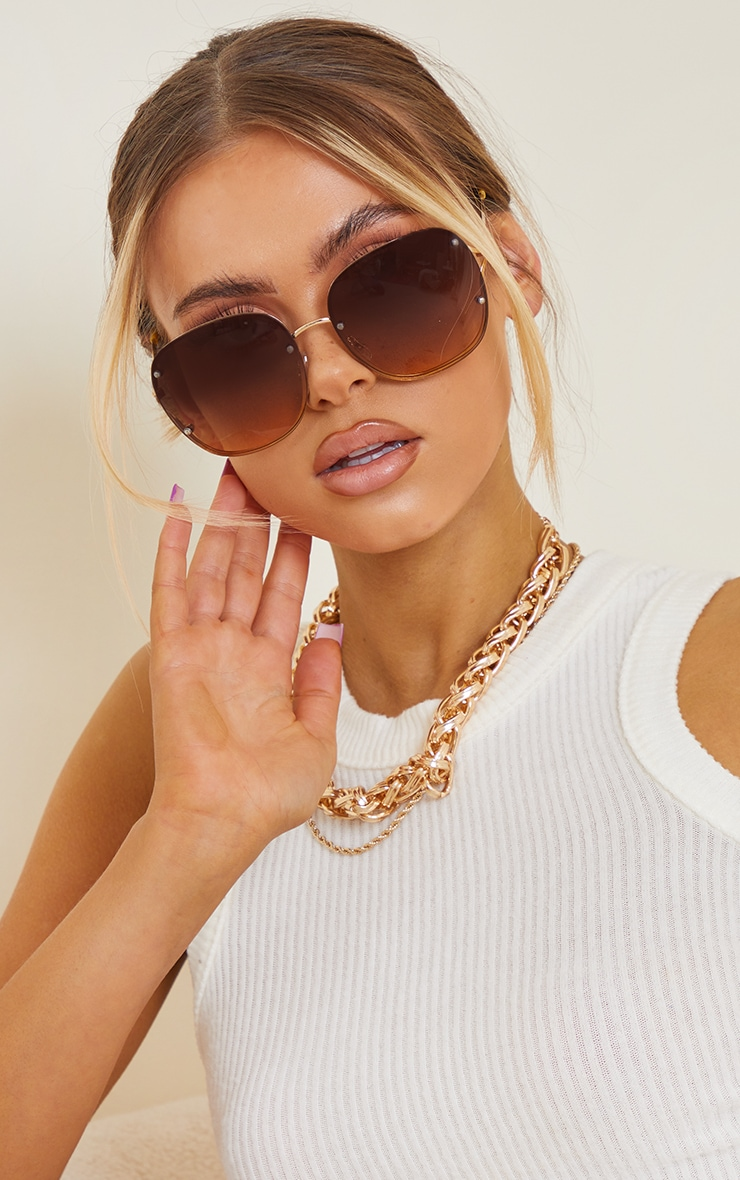 Brown Rimless Oversized Rounded Sunglasses 1