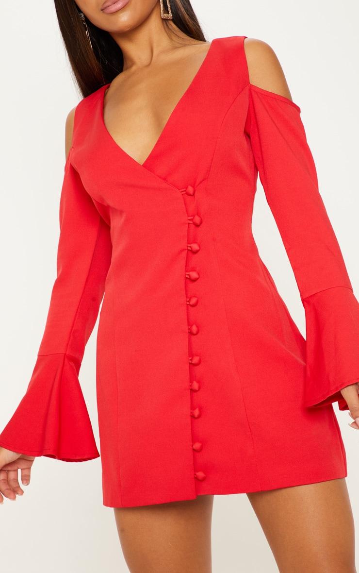 Red Button Detail Cold Shoulder Shift Dress 5