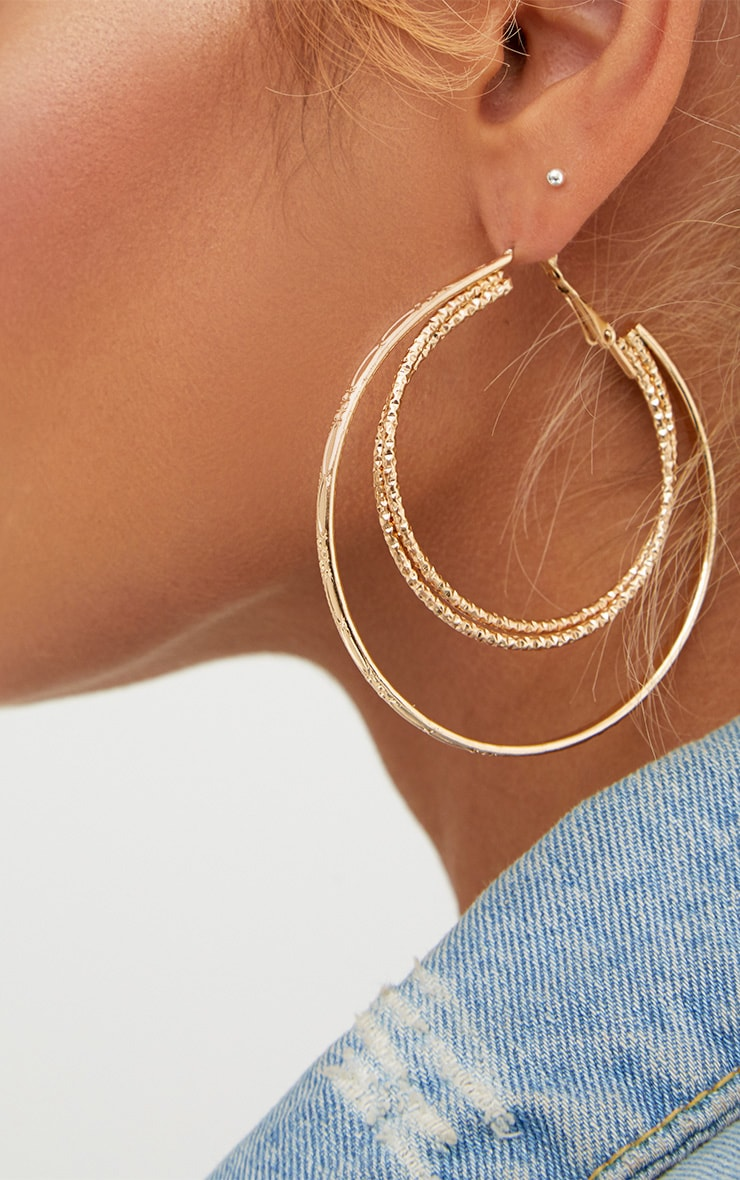 Gold Large Double Hoop Earrings 2