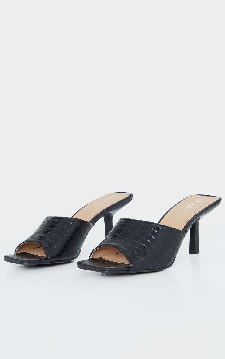 Black Croc Low Heel Square Toe Mule 3