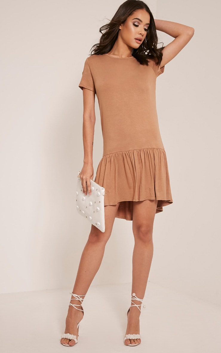 Tania Camel Drop Hem T shirt Dress 5