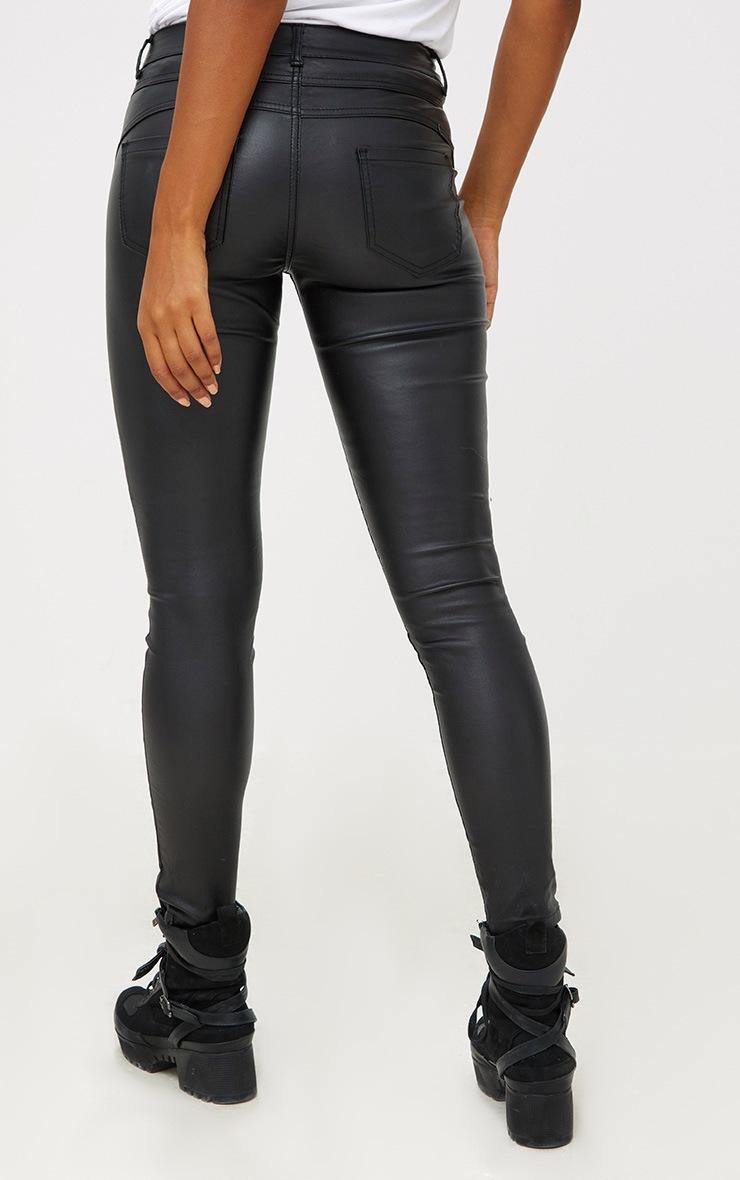 Black Coated Denim 5 Pocket Skinny Jean 3