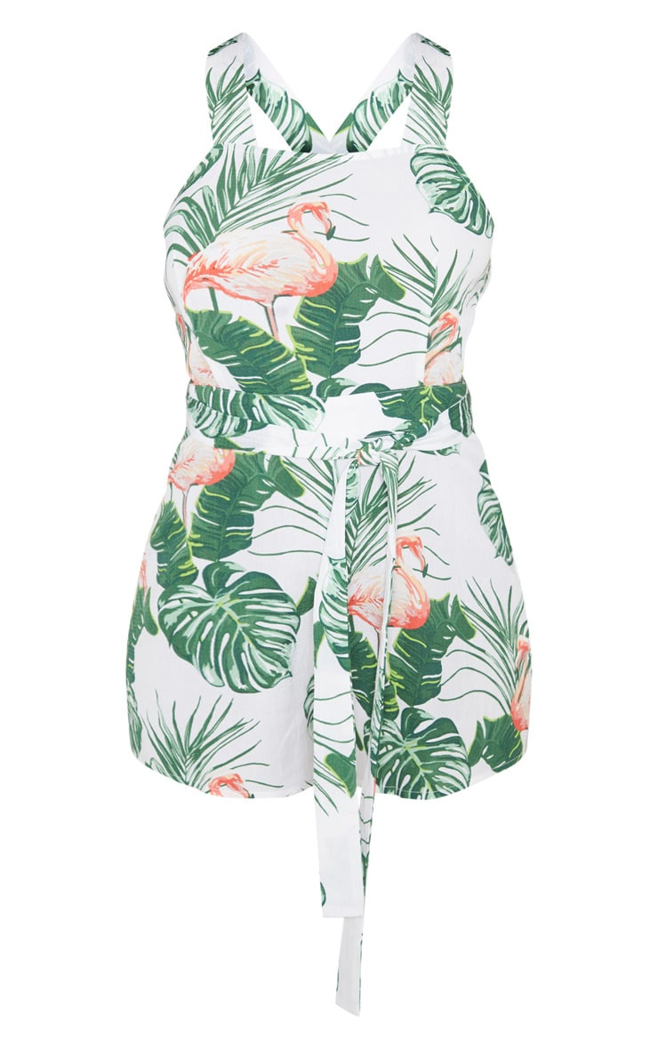 White Palm Flamingo Tie Front Playsuit 3
