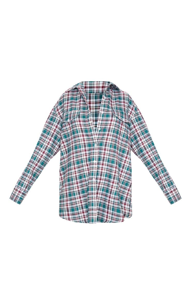 Chemise oversize style dad à carreaux bordeaux et manches longues 5