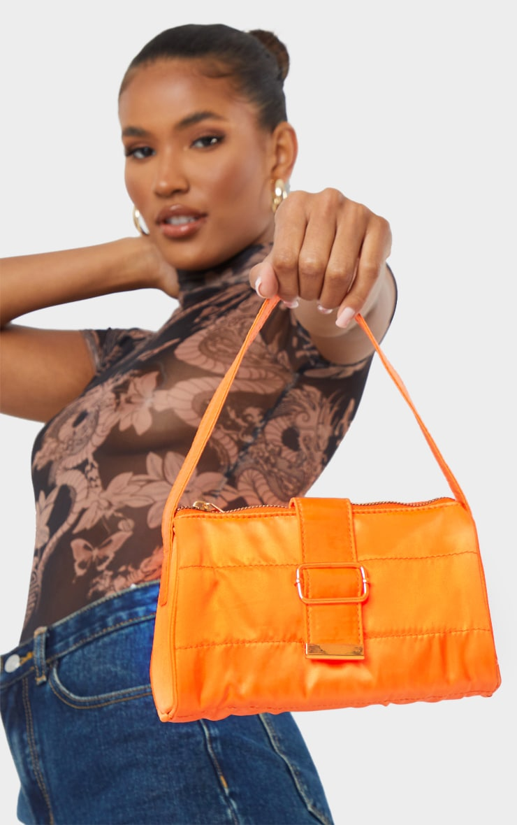 Orange Satin Buckle Shoulder Bag 1