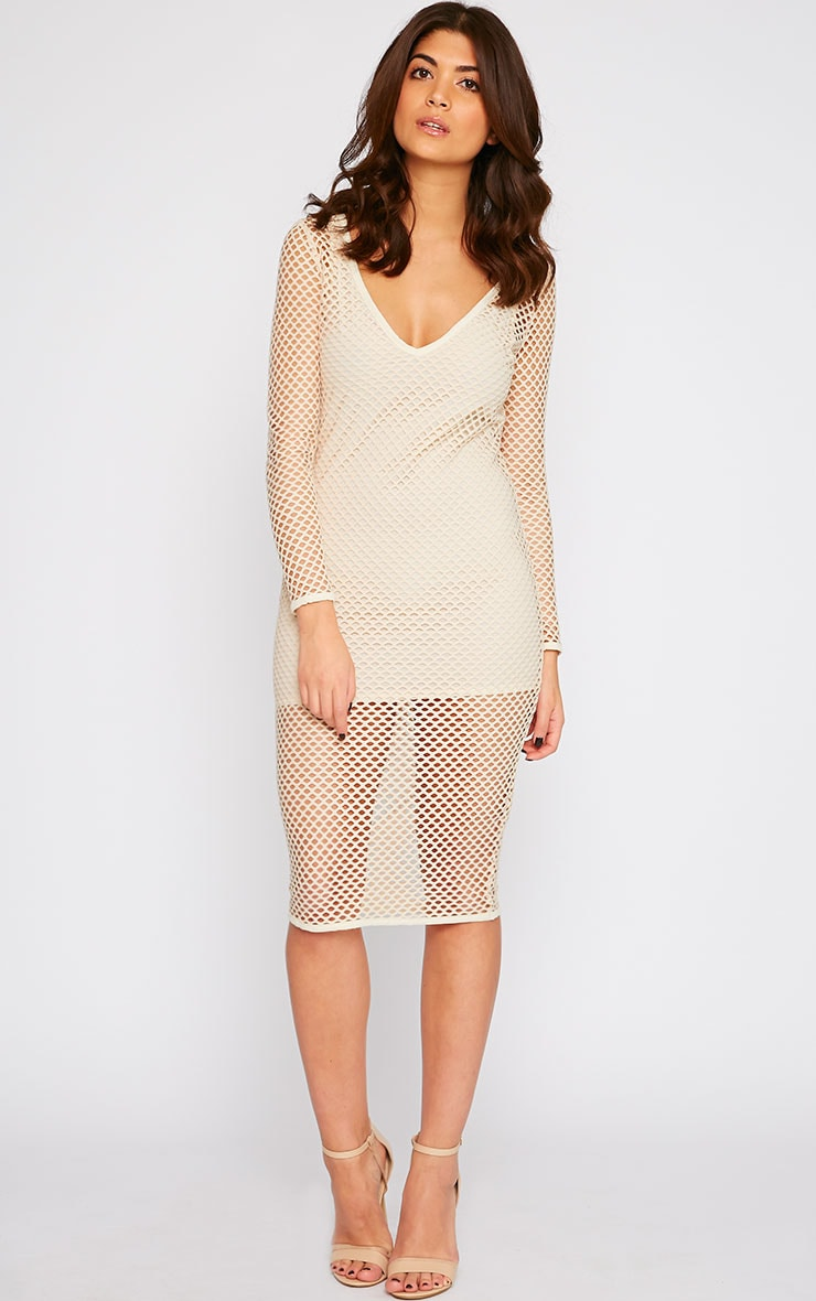 Karis Beige Netted Mesh Midi Dress 3